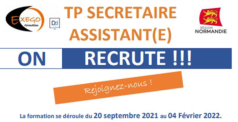 Formation TP Secrétaire Assistant(e) du 20 septembre 2021 au 04 février 2022